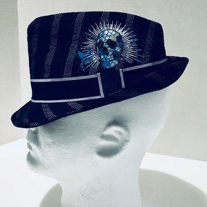 Other - Black Fedora Hat Boys Youth Sz 4 - 16 Skull